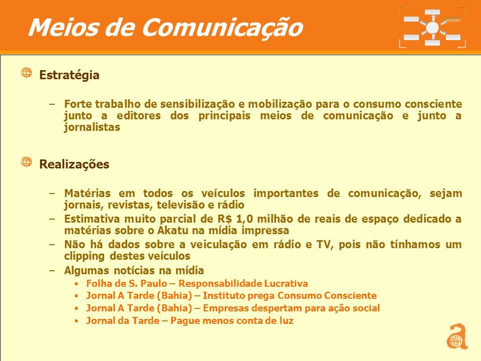15 Estratégia –Forte trabalho de sensibilização e mobilização para o consumo consciente junto a editores dos principais meios de comunicação e junto a