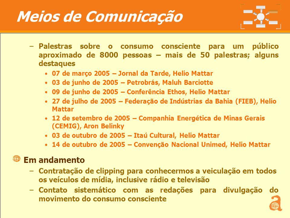 17 –Palestras sobre o consumo consciente para um público aproximado de 8000 pessoas – mais de 50 palestras; alguns destaques 07 de março 2005 – Jornal