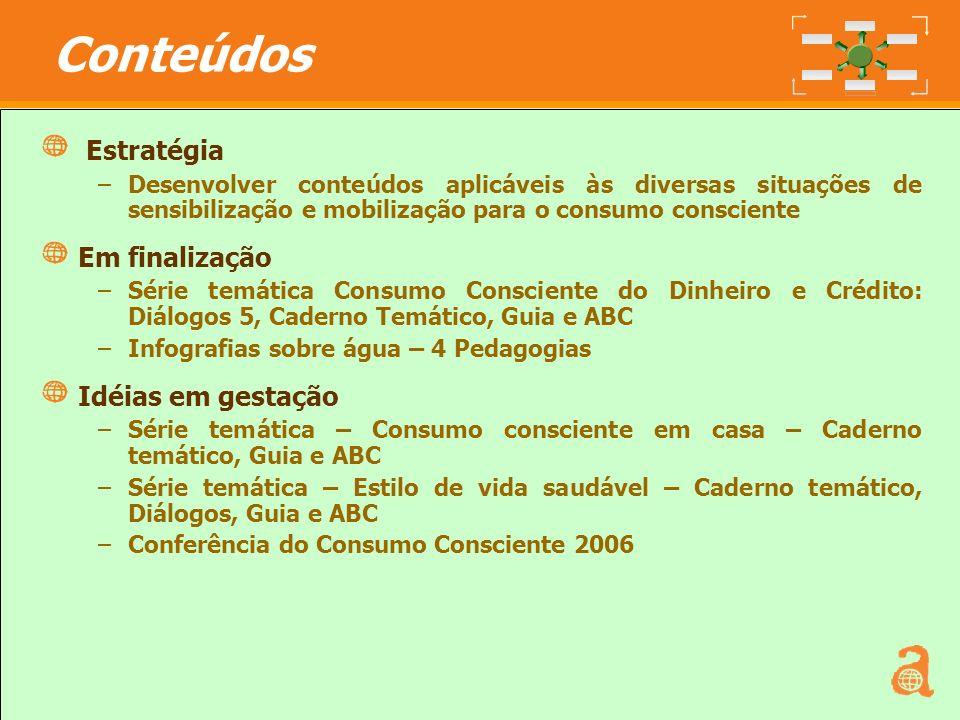 8 Estratégia –Desenvolver conteúdos aplicáveis às diversas situações de sensibilização e mobilização para o consumo consciente Em finalização –Série t