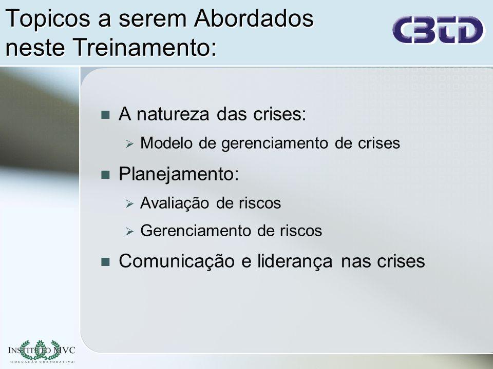Modelo de Gestão de Crises Condições Anteriores Crise Intrínseca Percepção da Crise Resposta imatura para a crise Gestão amadurecida da crise Revisões e Feedback