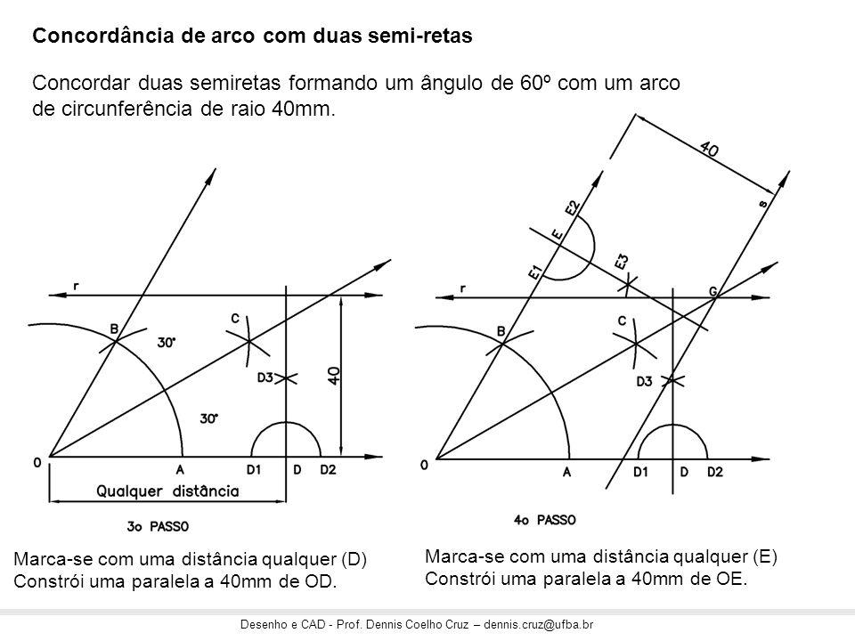 Desenho e CAD - Prof. Dennis Coelho Cruz – dennis.cruz@ufba.br Marca-se com uma distância qualquer (D) Constrói uma paralela a 40mm de OD. Marca-se co