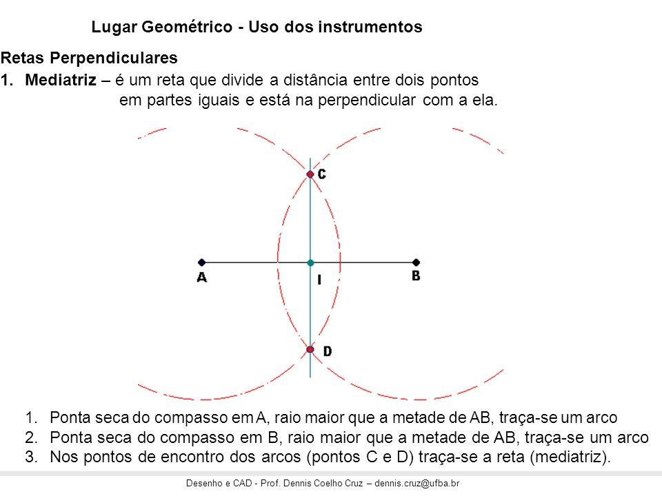 Desenho e CAD - Prof. Dennis Coelho Cruz – dennis.cruz@ufba.br Lugar Geométrico - Uso dos instrumentos 1.Mediatriz – é um reta que divide a distância