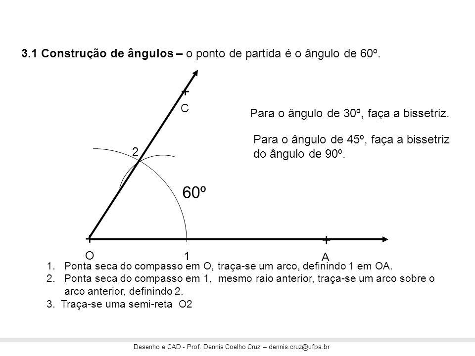 Desenho e CAD - Prof. Dennis Coelho Cruz – dennis.cruz@ufba.br 3.1 Construção de ângulos – o ponto de partida é o ângulo de 60º. +O+O +A+A +C+C 1 2 1.