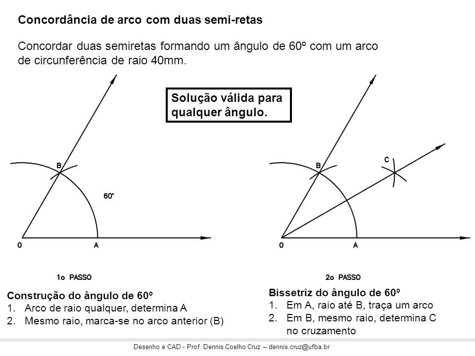 Desenho e CAD - Prof. Dennis Coelho Cruz – dennis.cruz@ufba.br Construção do ângulo de 60º 1.Arco de raio qualquer, determina A 2.Mesmo raio, marca-se