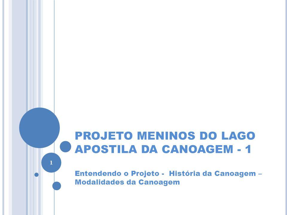 INTRODUÇÃO Baseado em experiências nacionais e européias, principalmente da escola espanhola de canoagem, a Confederação Brasileira de Canoagem e Federação Paranaense de Canoagem desenvolveram Apostilas objetivando traçar a metodologia para a realização das ações propostas no Projeto Meninos do Lago, previsto para a Cidade de Foz do Iguaçu.