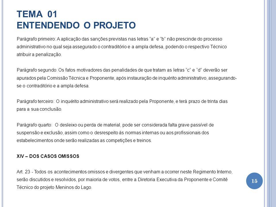 TEMA 01 ENTENDENDO O PROJETO Parágrafo primeiro: A aplicação das sanções previstas nas letras a e b não prescinde do processo administrativo no qual s