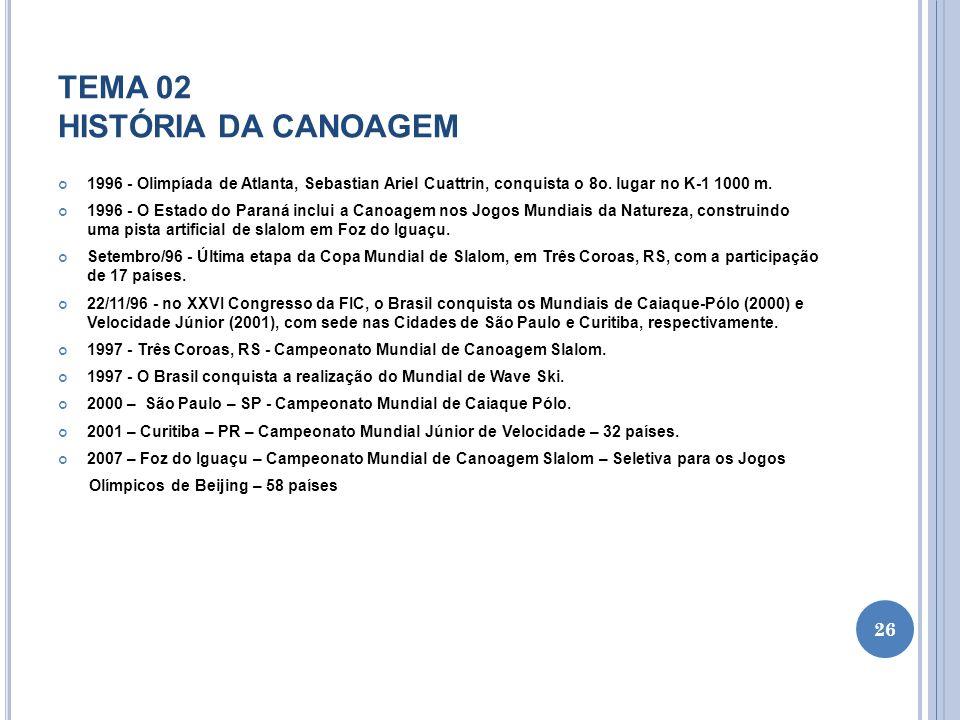 TEMA 02 HISTÓRIA DA CANOAGEM 1996 - Olimpíada de Atlanta, Sebastian Ariel Cuattrin, conquista o 8o. lugar no K-1 1000 m. 1996 - O Estado do Paraná inc