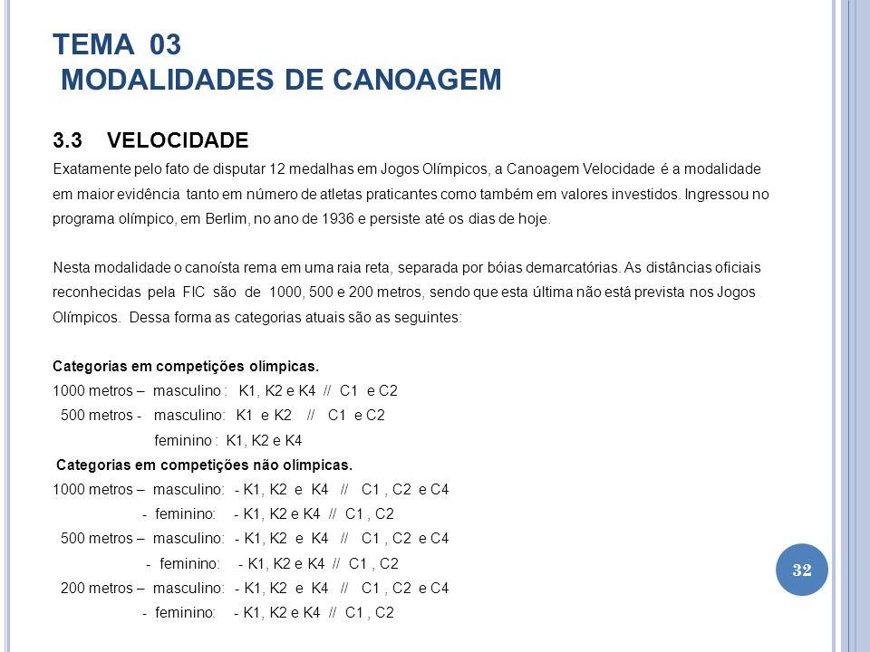 TEMA 03 MODALIDADES DE CANOAGEM 3.3 VELOCIDADE Exatamente pelo fato de disputar 12 medalhas em Jogos Olímpicos, a Canoagem Velocidade é a modalidade e
