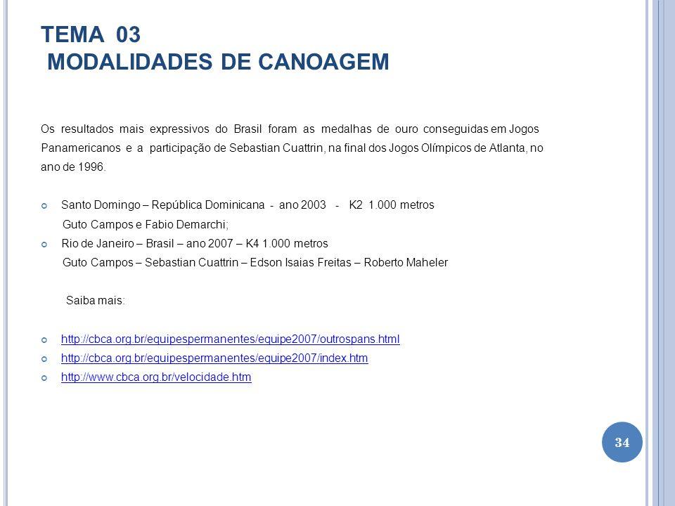 TEMA 03 MODALIDADES DE CANOAGEM Os resultados mais expressivos do Brasil foram as medalhas de ouro conseguidas em Jogos Panamericanos e a participação