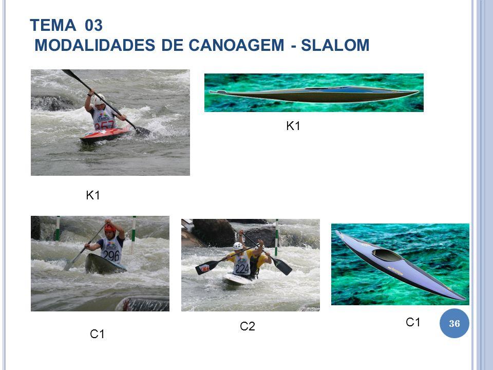 TEMA 03 MODALIDADES DE CANOAGEM - SLALOM 36 K1 C1 C2 C1