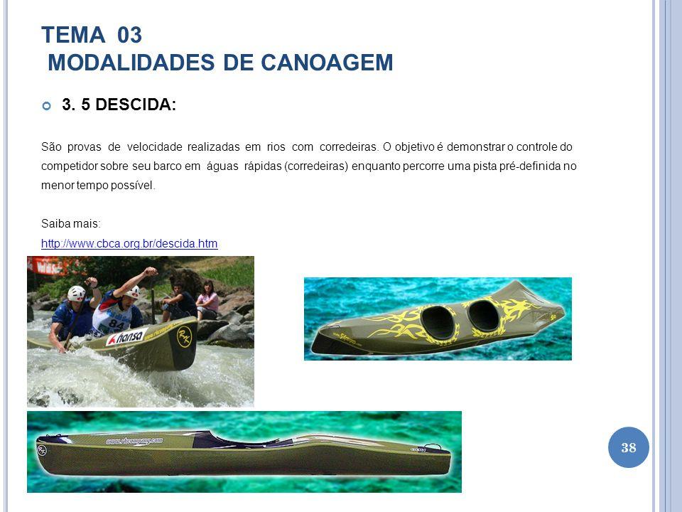 TEMA 03 MODALIDADES DE CANOAGEM 3. 5 DESCIDA: São provas de velocidade realizadas em rios com corredeiras. O objetivo é demonstrar o controle do compe