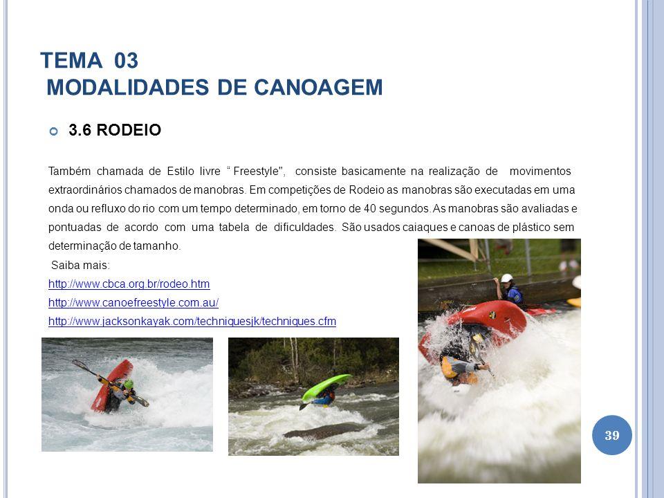 TEMA 03 MODALIDADES DE CANOAGEM 3.6 RODEIO Também chamada de Estilo livre Freestyle