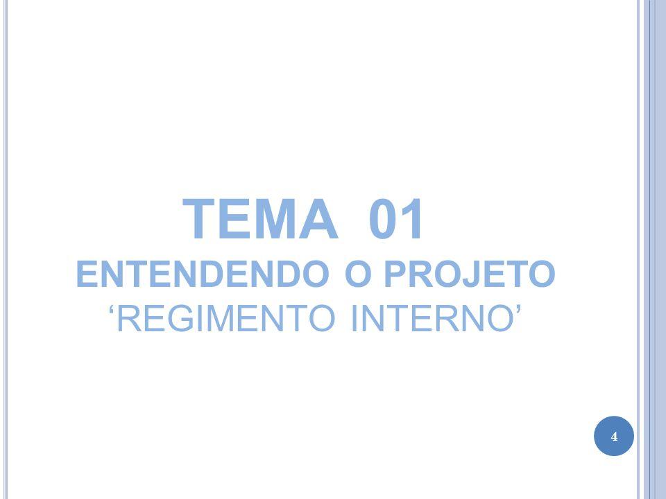TEMA 01 ENTENDENDO O PROJETO REGIMENTO INTERNO DO PROJETO MENINOS DO LAGO I – DOS CONVOCÁVEIS Art.