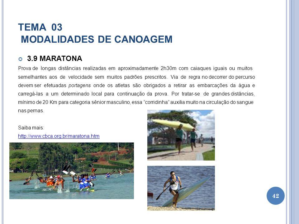 TEMA 03 MODALIDADES DE CANOAGEM 3.9 MARATONA Prova de longas distâncias realizadas em aproximadamente 2h30m com caiaques iguais ou muitos semelhantes