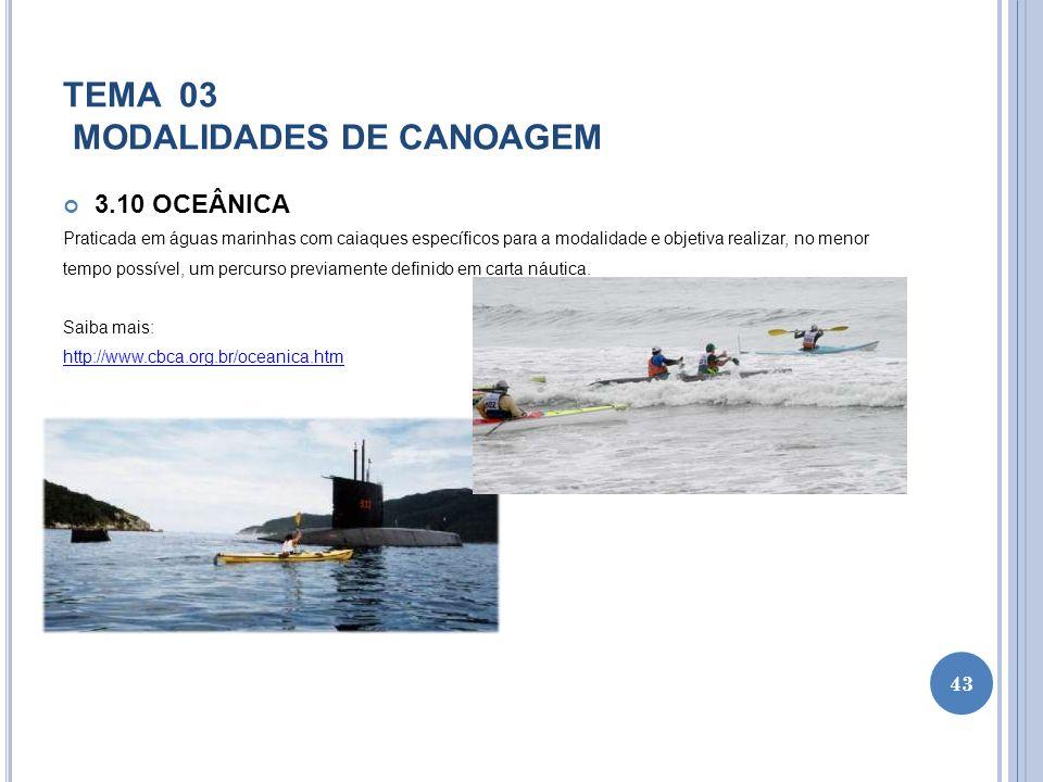 TEMA 03 MODALIDADES DE CANOAGEM 3.10 OCEÂNICA Praticada em águas marinhas com caiaques específicos para a modalidade e objetiva realizar, no menor tem