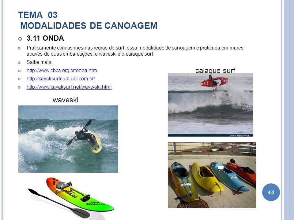 TEMA 03 MODALIDADES DE CANOAGEM 3.11 ONDA Praticamente com as mesmas regras do surf, essa modalidade de canoagem é praticada em mares através de duas
