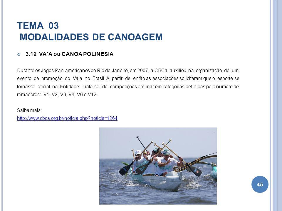 TEMA 03 MODALIDADES DE CANOAGEM 3.12 VA´A ou CANOA POLINÉSIA Durante os Jogos Pan-americanos do Rio de Janeiro, em 2007, a CBCa auxiliou na organizaçã