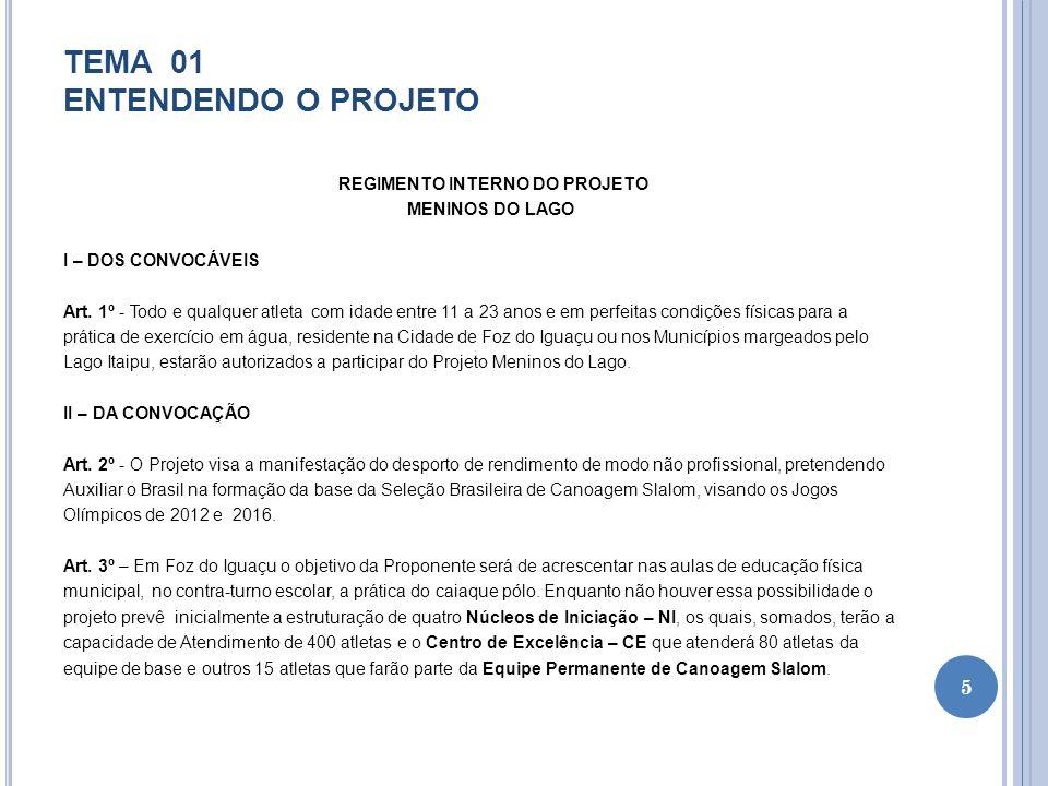 TEMA 01 ENTENDENDO O PROJETO EXERCÍCIOS TEMA 01 QUESTÕES 1 - Quem são as pessoas que podem participar do Projeto Meninos do Lago.
