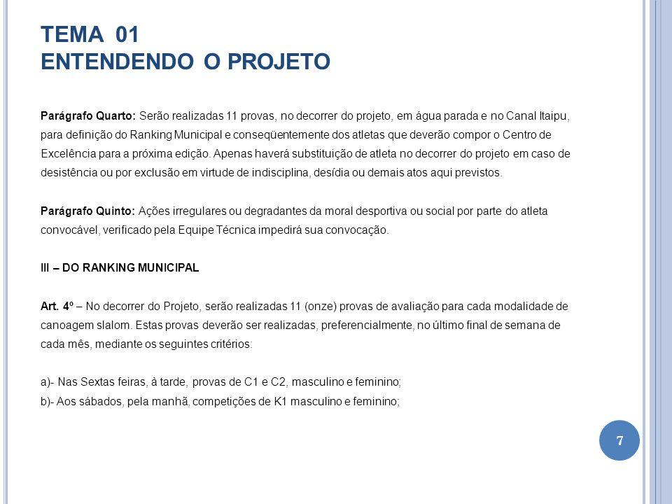 TEMA 01 ENTENDENDO O PROJETO Parágrafo Quarto: Serão realizadas 11 provas, no decorrer do projeto, em água parada e no Canal Itaipu, para definição do