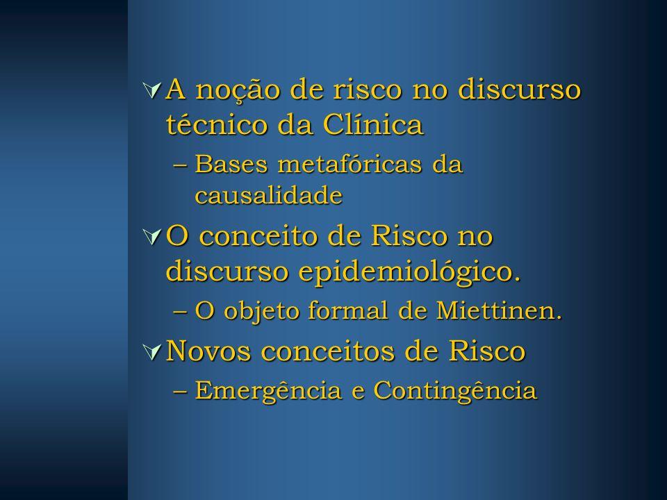 A noção de risco no discurso técnico da Clínica A noção de risco no discurso técnico da Clínica –Bases metafóricas da causalidade O conceito de Risco