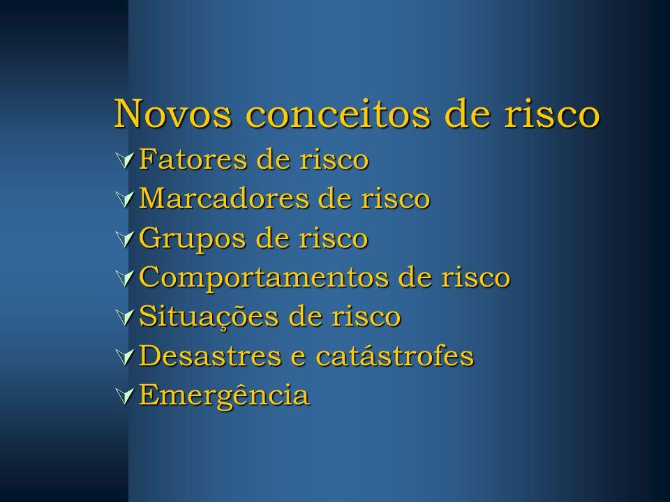 Novos conceitos de risco Fatores de risco Fatores de risco Marcadores de risco Marcadores de risco Grupos de risco Grupos de risco Comportamentos de r