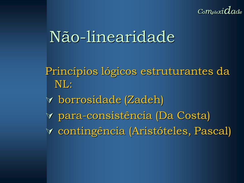 Não-linearidade Princípios lógicos estruturantes da NL: borrosidade (Zadeh) borrosidade (Zadeh) para-consistência (Da Costa) para-consistência (Da Cos