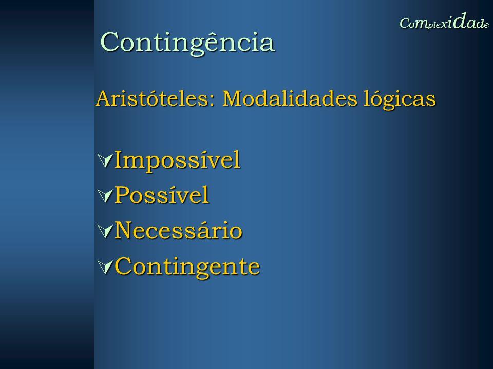 Aristóteles: Modalidades lógicas Impossível Impossível Possível Possível Necessário Necessário Contingente Contingente C o m ple x i d a d e Contingên