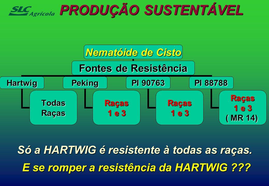 PRODUÇÃO SUSTENTÁVEL Nematóide de Cisto Fontes de Resistência Hartwig TodasRaças Peking Raças 1 e 3 PI 90763 Raças 1 e 3 PI 88788 Raças 1 e 3 ( MR 14)