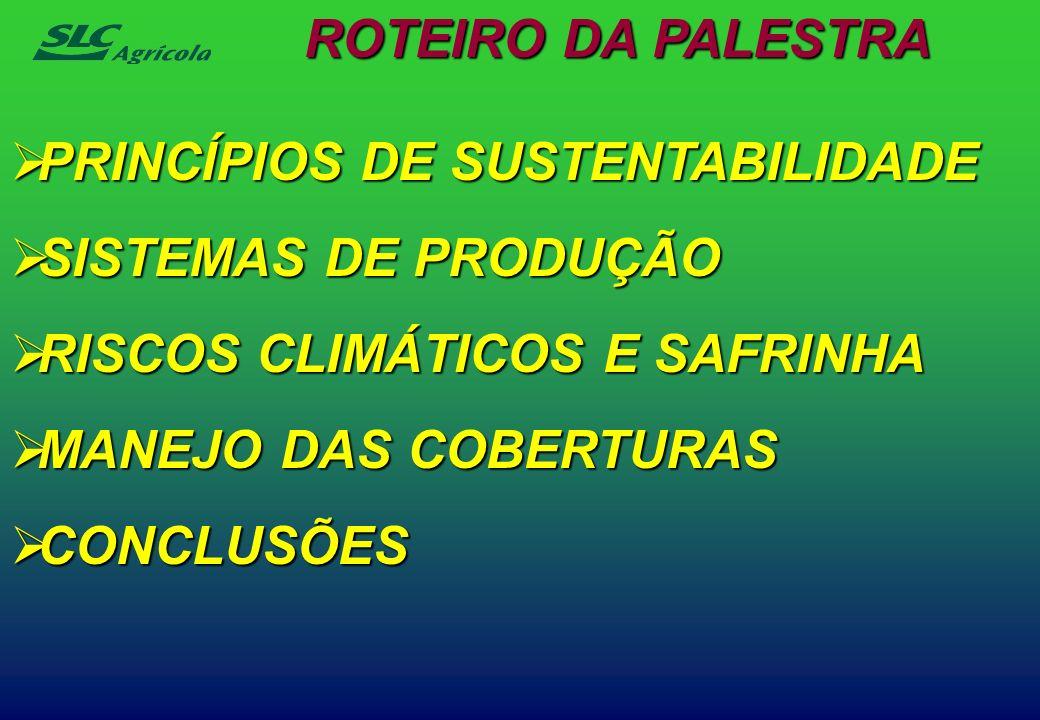 PRINCÍPIOS DE SUSTENTABILIDADE PRINCÍPIOS DE SUSTENTABILIDADE SISTEMAS DE PRODUÇÃO SISTEMAS DE PRODUÇÃO RISCOS CLIMÁTICOS E SAFRINHA RISCOS CLIMÁTICOS