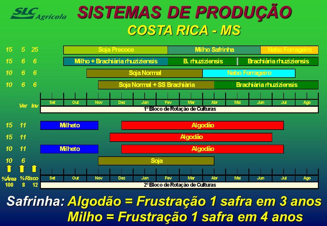 COSTA RICA - MS Safrinha: Algodão = Frustração 1 safra em 3 anos Milho = Frustração 1 safra em 4 anos SISTEMAS DE PRODUÇÃO