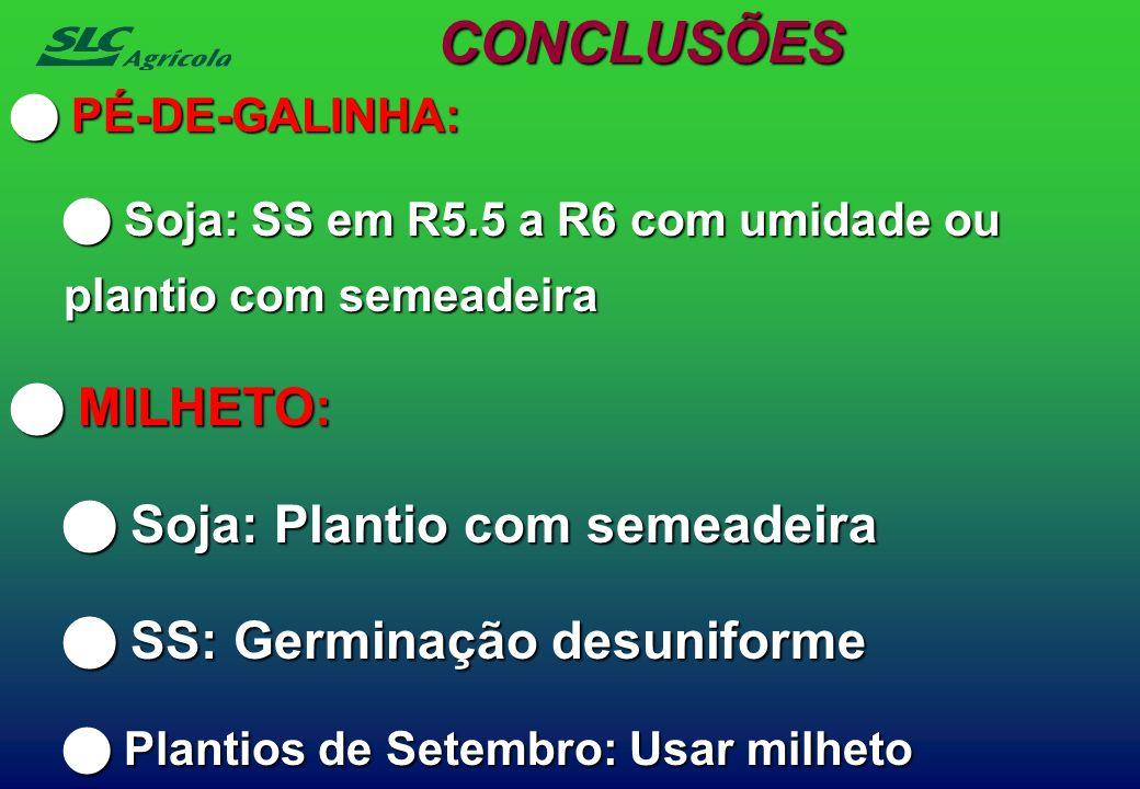 PÉ-DE-GALINHA: PÉ-DE-GALINHA: Soja: SS em R5.5 a R6 com umidade ou plantio com semeadeira Soja: SS em R5.5 a R6 com umidade ou plantio com semeadeira