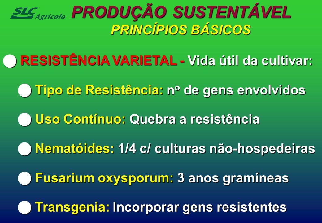 RESISTÊNCIA VARIETAL - Vida útil da cultivar: RESISTÊNCIA VARIETAL - Vida útil da cultivar: Tipo de Resistência: n o de gens envolvidos Tipo de Resist