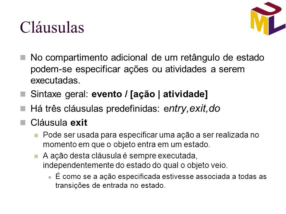 Cláusulas No compartimento adicional de um retângulo de estado podem-se especificar ações ou atividades a serem executadas. Sintaxe geral: evento / [a