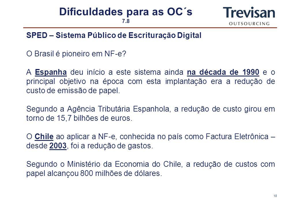 17 Dificuldades para as OC´s 6.8 SPED – Sistema Público de Escrituração Digital - Instituído pelo Decreto n º 6.022, de 22/01/2007 - Faz parte do Prog