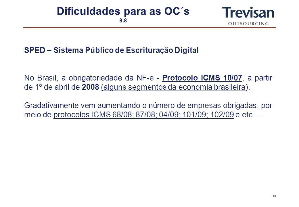 18 Dificuldades para as OC´s 7.8 SPED – Sistema Público de Escrituração Digital O Brasil é pioneiro em NF-e? A Espanha deu início a este sistema ainda