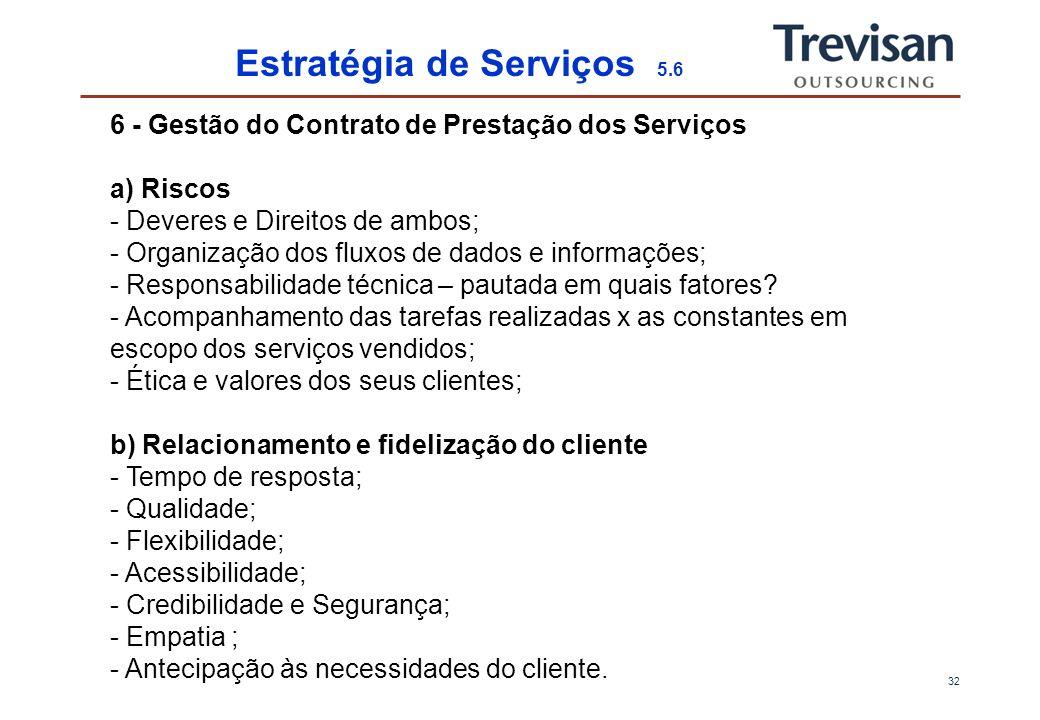31 Estratégia de Serviços 4.6 4 - Preço dos Serviços - Como mitigação de riscos; - Qual é o custo de ganhar uma nova conta com baixo valor.