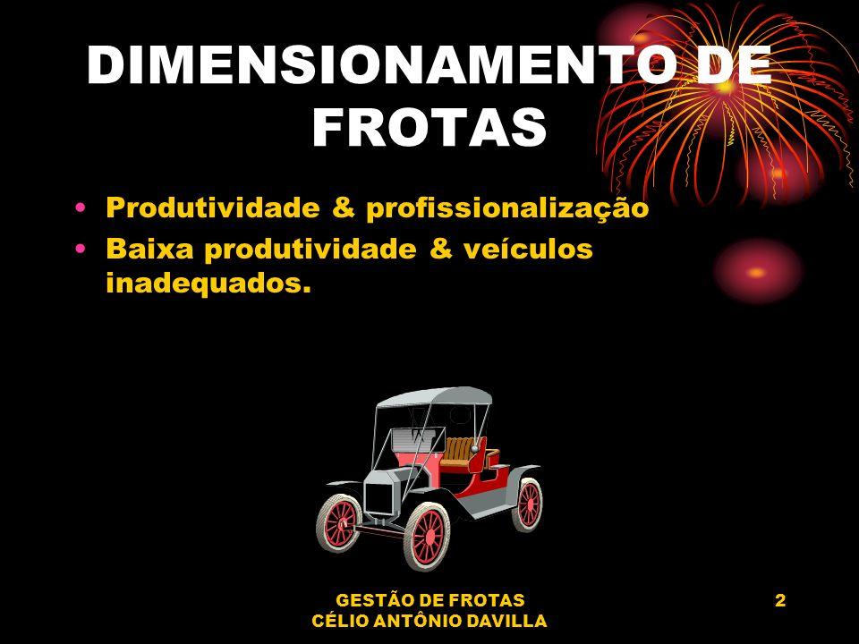 GESTÃO DE FROTAS CÉLIO ANTÔNIO DAVILLA 2 DIMENSIONAMENTO DE FROTAS Produtividade & profissionalização Baixa produtividade & veículos inadequados.