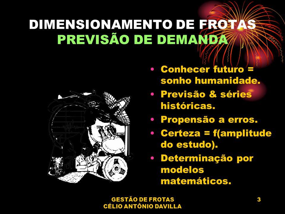 GESTÃO DE FROTAS CÉLIO ANTÔNIO DAVILLA 3 DIMENSIONAMENTO DE FROTAS PREVISÃO DE DEMANDA Conhecer futuro = sonho humanidade. Previsão & séries histórica
