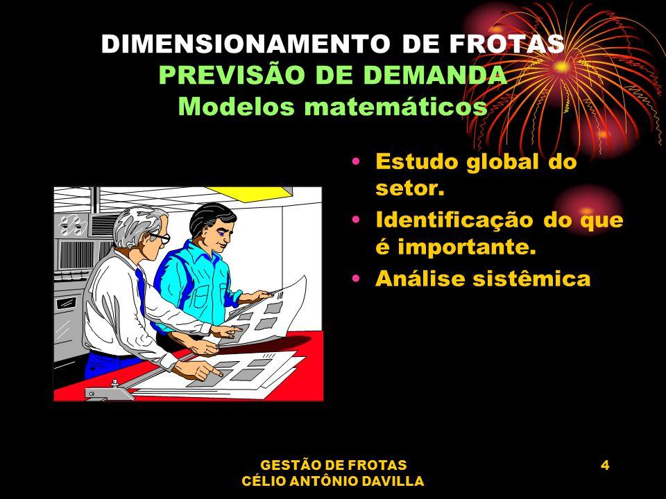 GESTÃO DE FROTAS CÉLIO ANTÔNIO DAVILLA 4 DIMENSIONAMENTO DE FROTAS PREVISÃO DE DEMANDA Modelos matemáticos Estudo global do setor. Identificação do qu