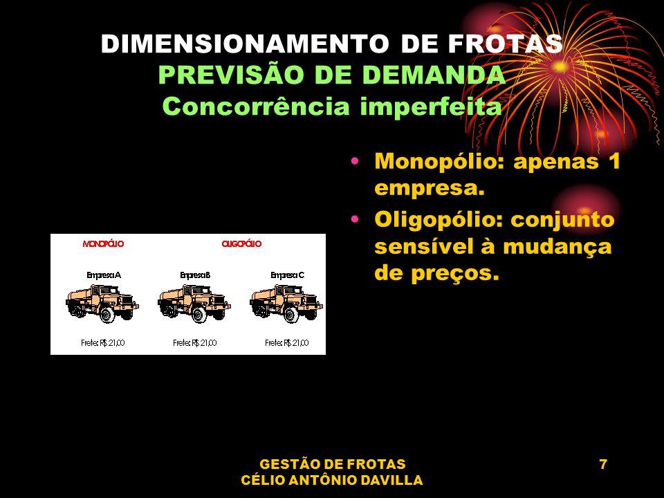 GESTÃO DE FROTAS CÉLIO ANTÔNIO DAVILLA 7 DIMENSIONAMENTO DE FROTAS PREVISÃO DE DEMANDA Concorrência imperfeita Monopólio: apenas 1 empresa. Oligopólio