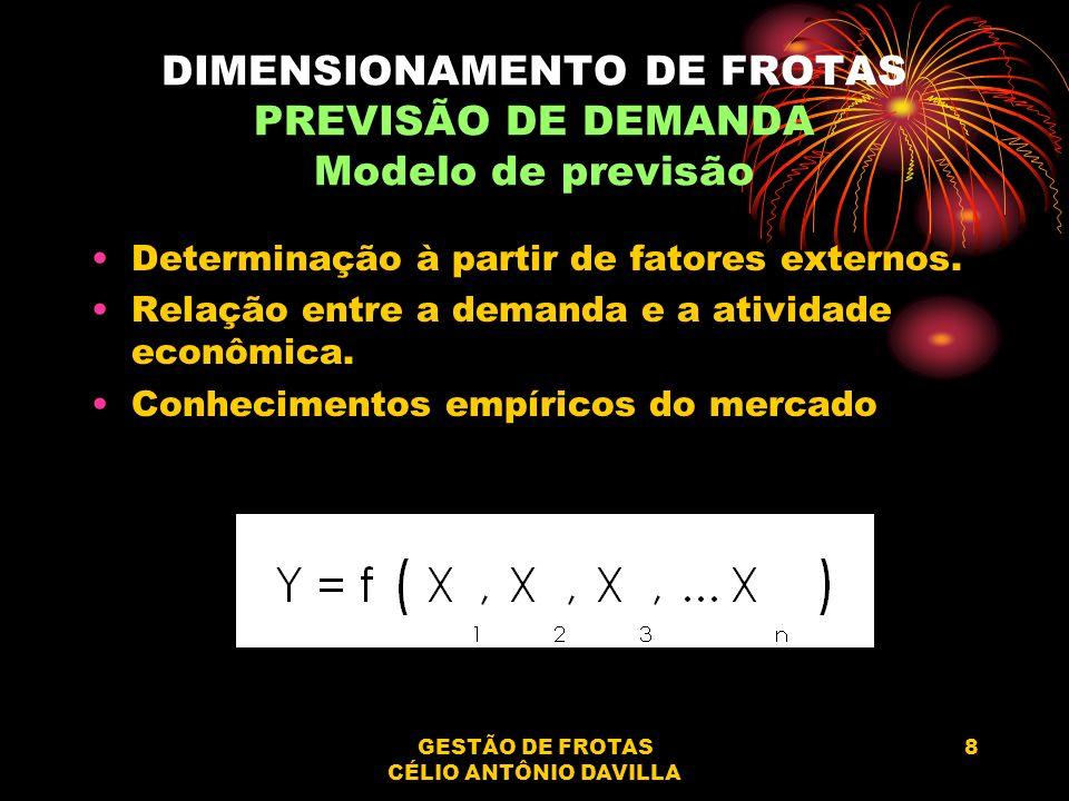 GESTÃO DE FROTAS CÉLIO ANTÔNIO DAVILLA 8 DIMENSIONAMENTO DE FROTAS PREVISÃO DE DEMANDA Modelo de previsão Determinação à partir de fatores externos. R