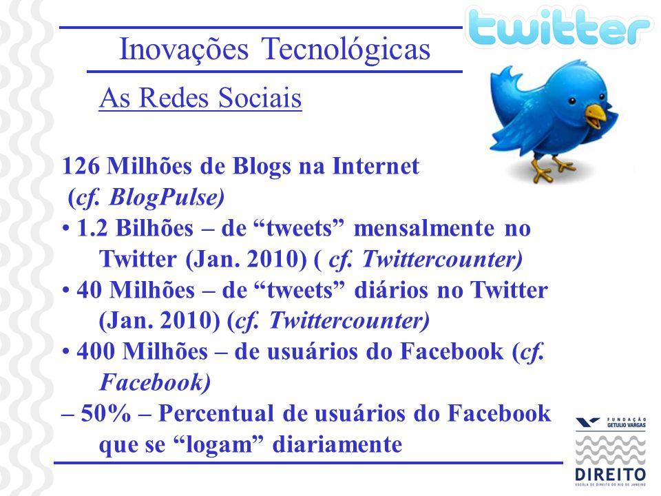 Inovações Tecnológicas As Redes Sociais 126 Milhões de Blogs na Internet (cf. BlogPulse) 1.2 Bilhões – de tweets mensalmente no Twitter (Jan. 2010) (