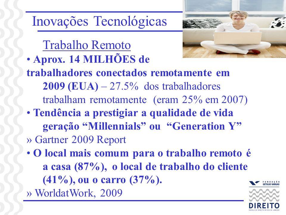 Inovações Tecnológicas Trabalho Remoto Aprox. 14 MILHÕES de trabalhadores conectados remotamente em 2009 (EUA) – 27.5% dos trabalhadores trabalham rem