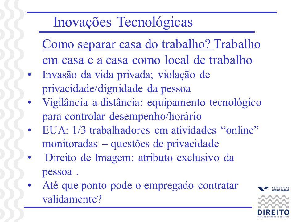 Inovações Tecnológicas Como separar casa do trabalho? Trabalho em casa e a casa como local de trabalho Invasão da vida privada; violação de privacidad