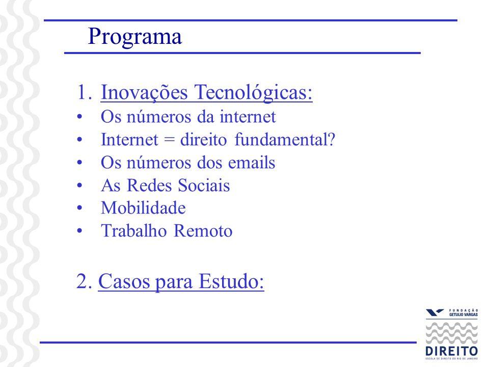 Programa 1.Inovações Tecnológicas: Os números da internet Internet = direito fundamental? Os números dos emails As Redes Sociais Mobilidade Trabalho R