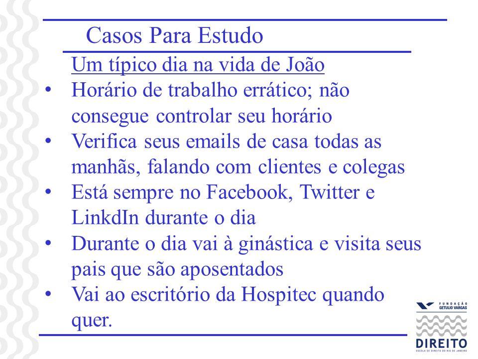 Casos Para Estudo Um típico dia na vida de João Horário de trabalho errático; não consegue controlar seu horário Verifica seus emails de casa todas as
