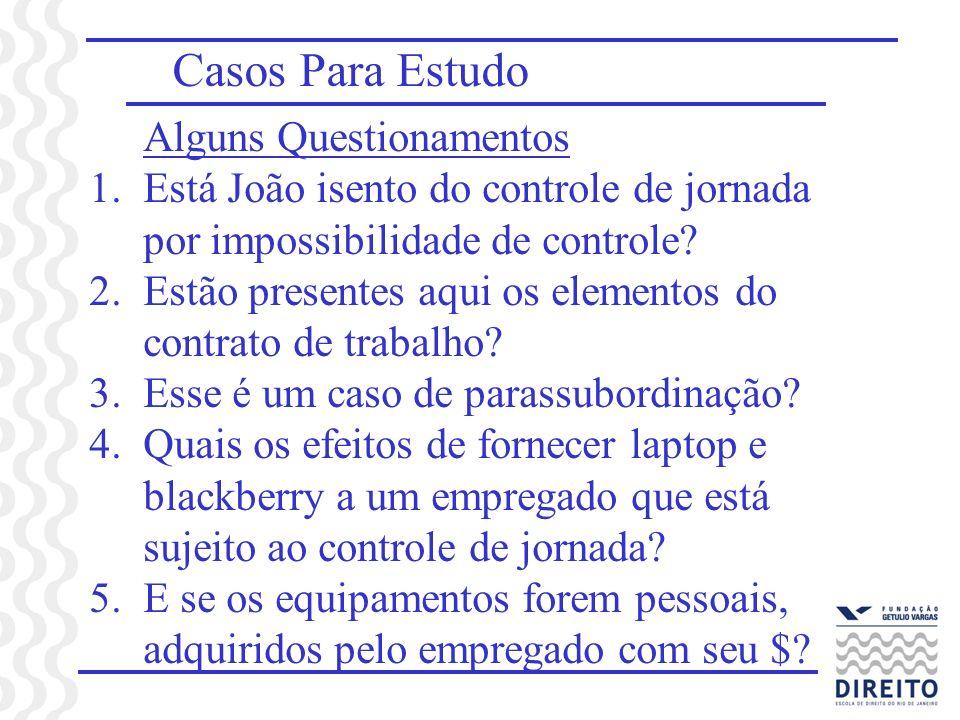 Casos Para Estudo Alguns Questionamentos 1.Está João isento do controle de jornada por impossibilidade de controle? 2.Estão presentes aqui os elemento
