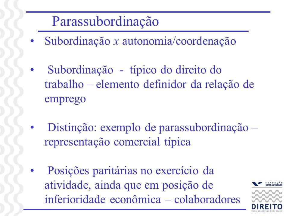 Parassubordinação Subordinação x autonomia/coordenação Subordinação - típico do direito do trabalho – elemento definidor da relação de emprego Distinç