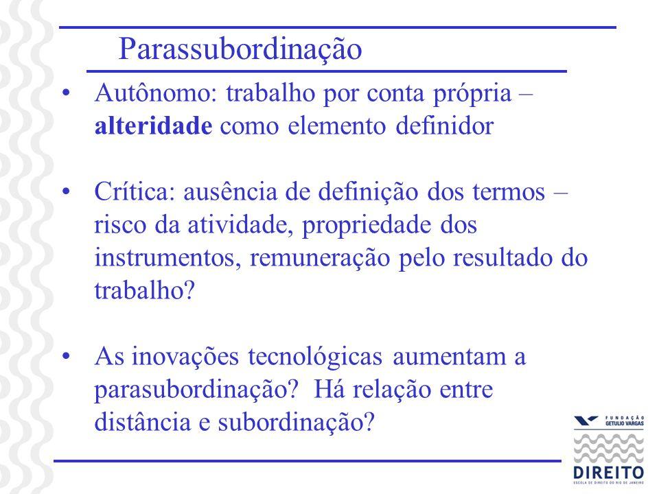 Parassubordinação Autônomo: trabalho por conta própria – alteridade como elemento definidor Crítica: ausência de definição dos termos – risco da ativi