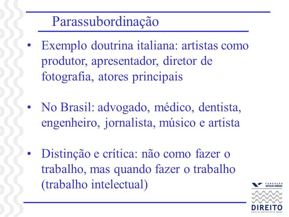 Parassubordinação Exemplo doutrina italiana: artistas como produtor, apresentador, diretor de fotografia, atores principais No Brasil: advogado, médic